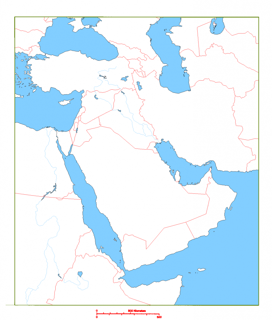 Blank Map Of Middle East | Cc Geography | Middle East Map, Map - Printable Blank Map Of Middle East