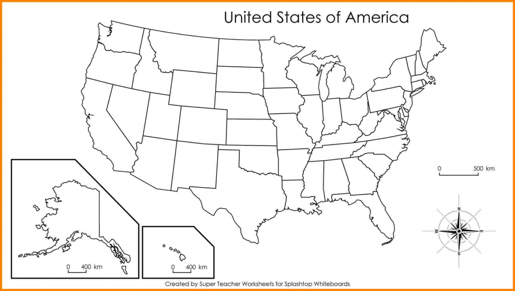 Blank Us Map With States Names Labeled Inside United Outline - Us Map Unlabeled Printable