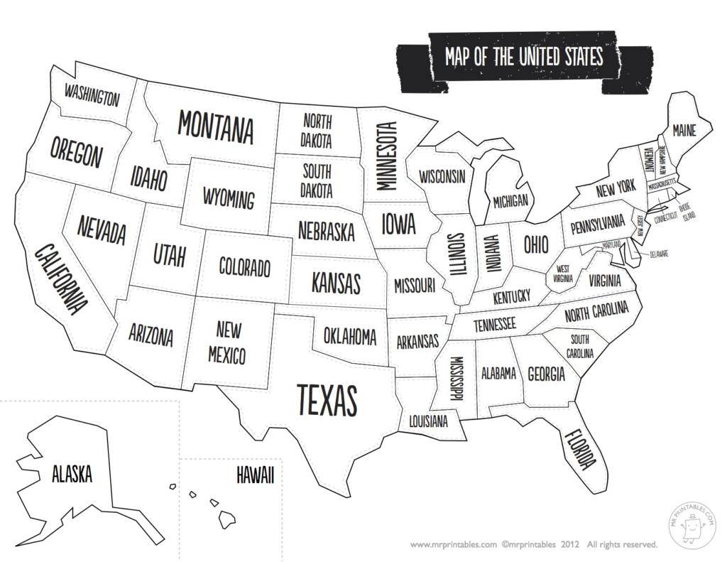 Blank Us State Map Printable | Woestenhoeve - Printable Blank Usa Map