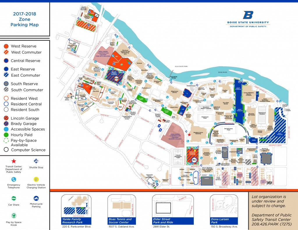 Boise State University Map   Map 2018 - Boise State University Printable Campus Map