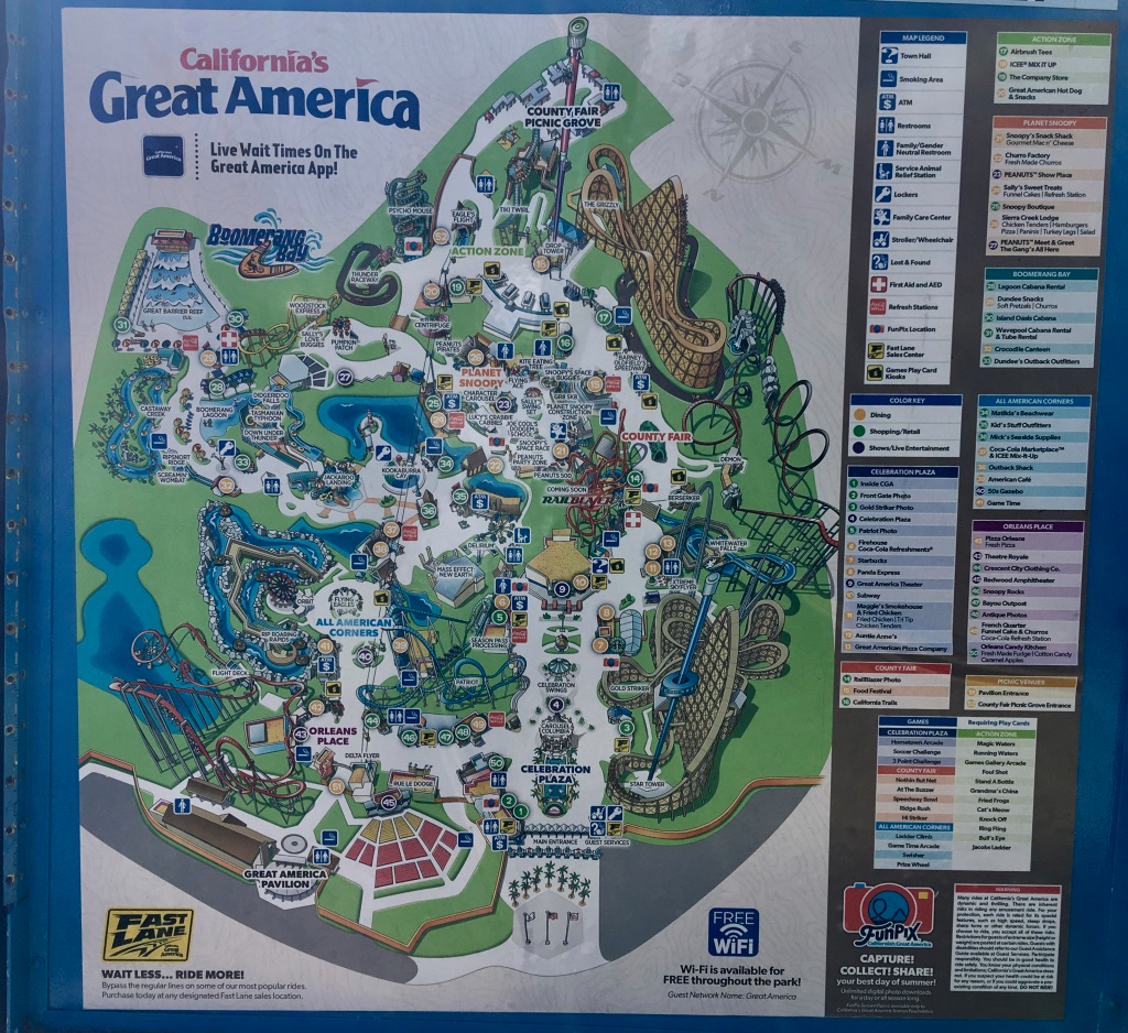 Boomerang Bay Great America Map | Ikwileenprentenboek - California's Great America Map