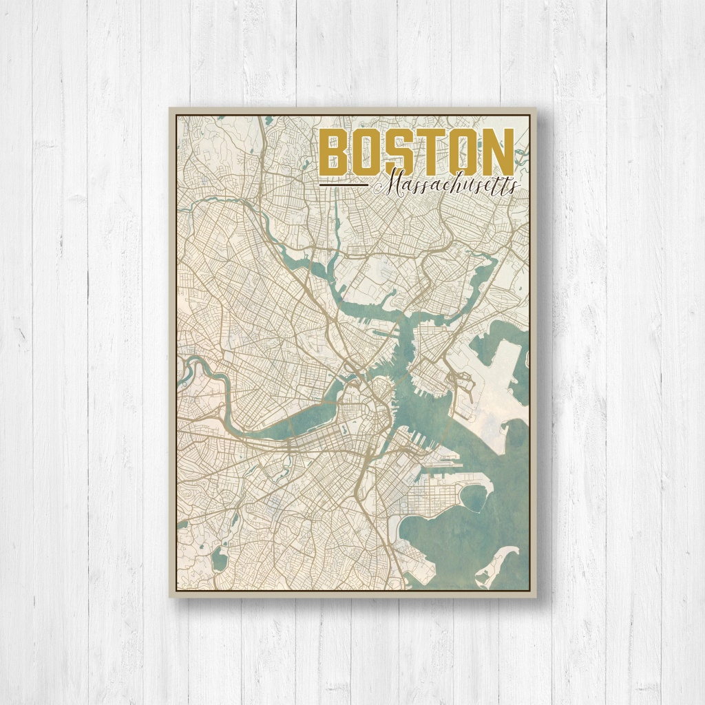 Boston Massachusetts Boston City Map Map Of Boston Map | Etsy - Boston City Map Printable
