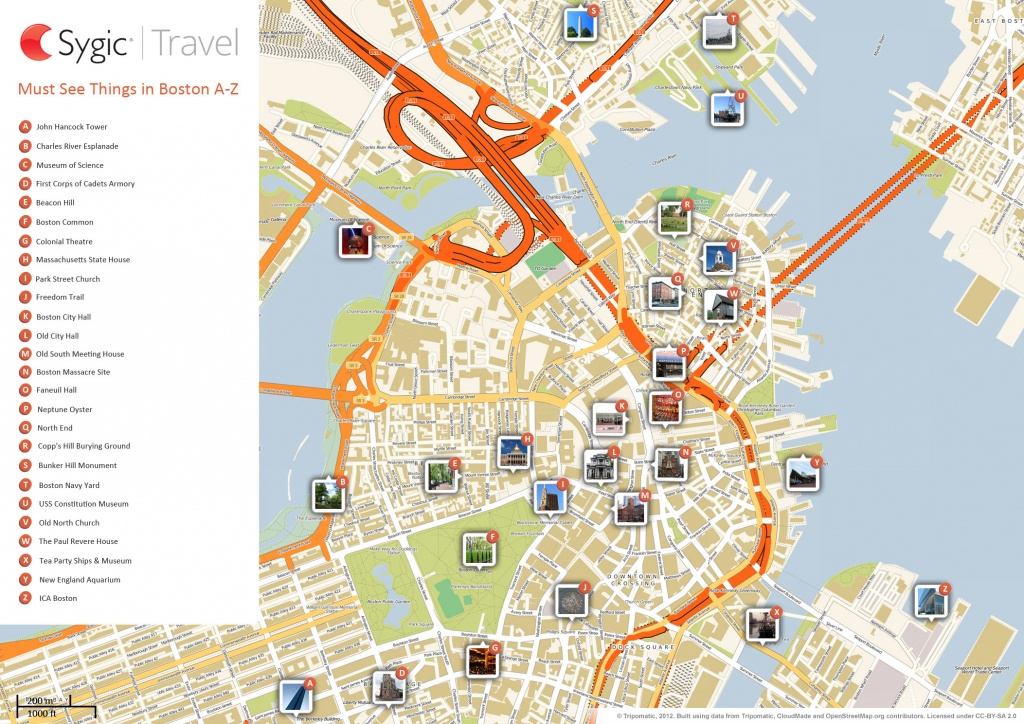 Boston Printable Tourist Map | Sygic Travel - Map Of Chicago Attractions Printable