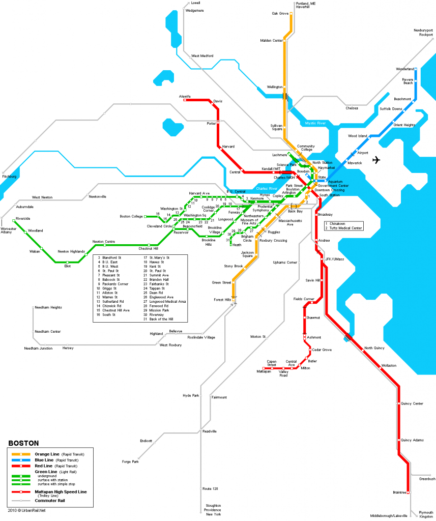 Boston Subway Map For Download   Metro In Boston - High-Resolution - Mbta Subway Map Printable