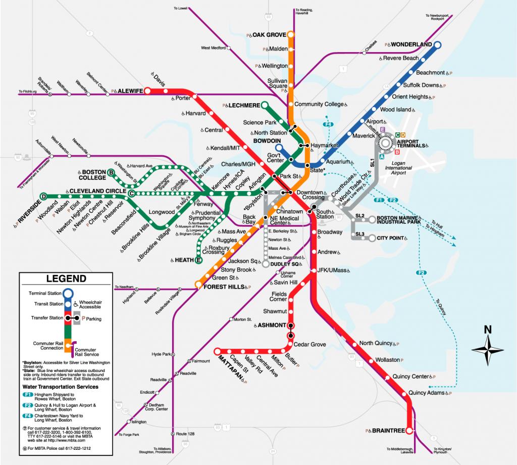 Boston T Map   Metro Maps   Boston Vacation, Subway Map, Boston - Mbta Subway Map Printable