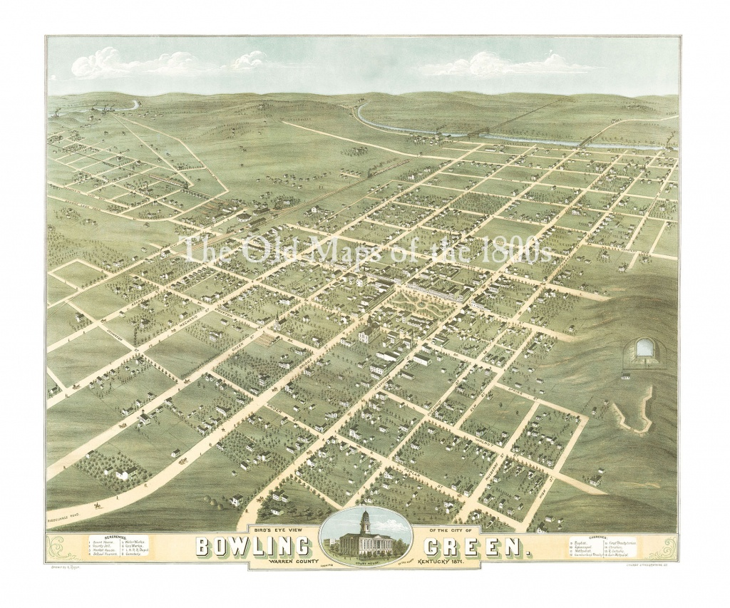Bowling Green, Kentucky In 1871 - Bird's Eye View Map, Aerial Map - Printable Map Of Bowling Green Ky