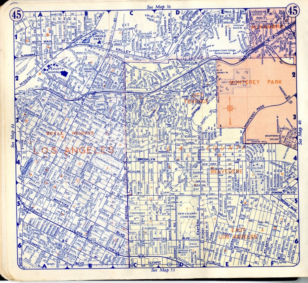 Boyle Heights - Here Is A Simple Street Map, Taken From A 1950 - Thomas Bros Maps California