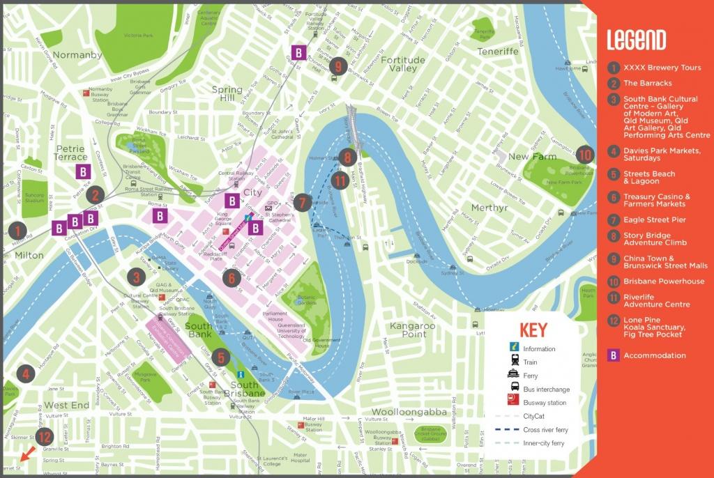 Brisbane Tourist Map - Printable Map Of Brisbane
