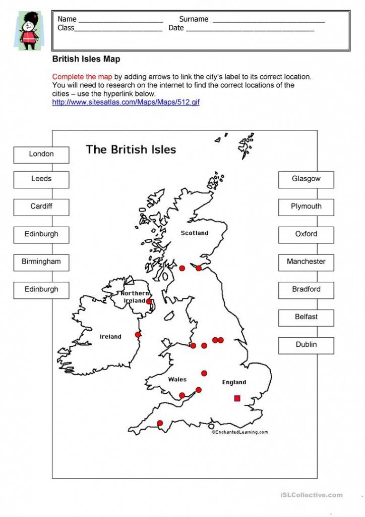 British Isles Map Worksheet - Free Esl Printable Worksheets Made - Free Printable Map Worksheets