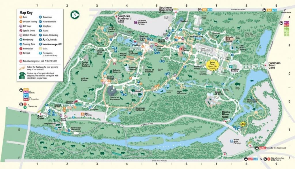 Bronx Zoo Entrances Map - Bronx Zoo Map Directions (New York - Usa) - Bronx Zoo Map Printable