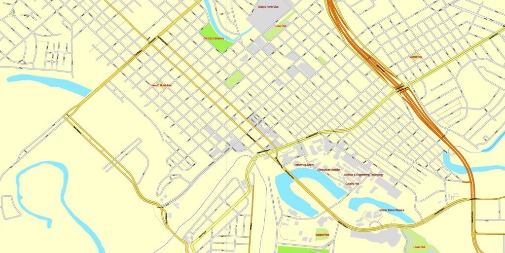 Brownsville, Texas, Us, + Matamoros, Mexico, Printable Vector Street - Map Of Brownsville Texas Area