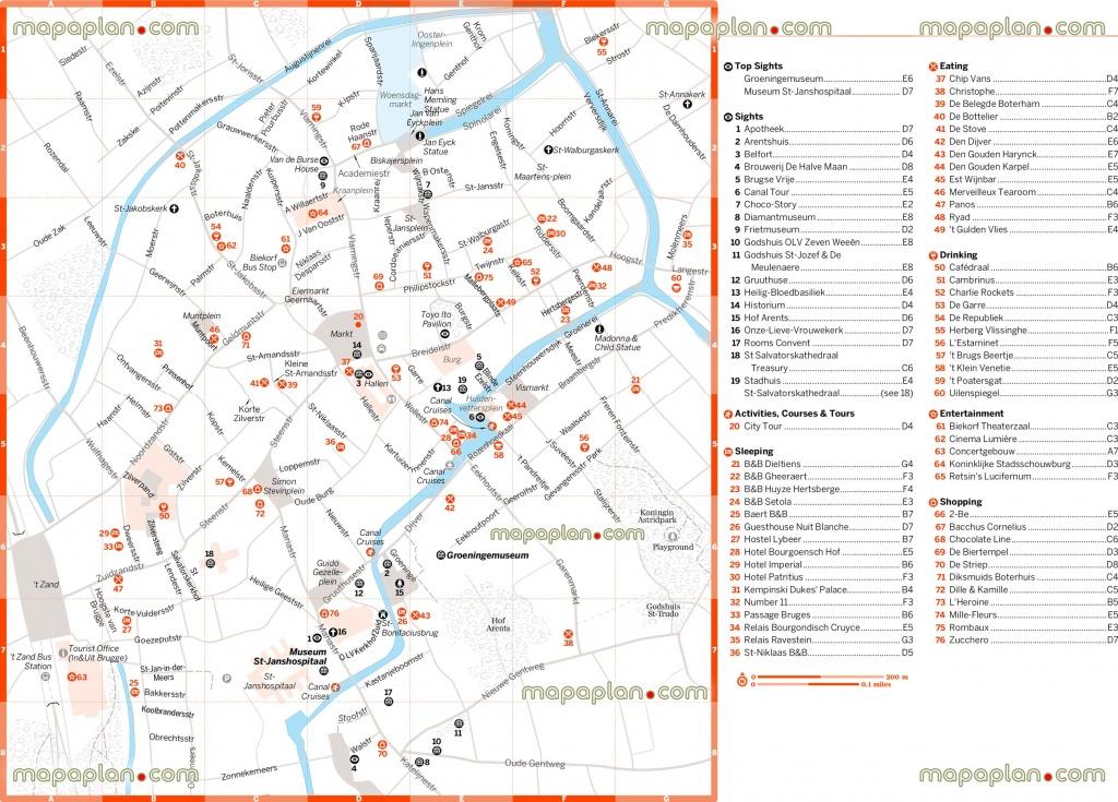 Bruges Tourist Map And Travel Information | Download Free Bruges - Bruges Map Printable
