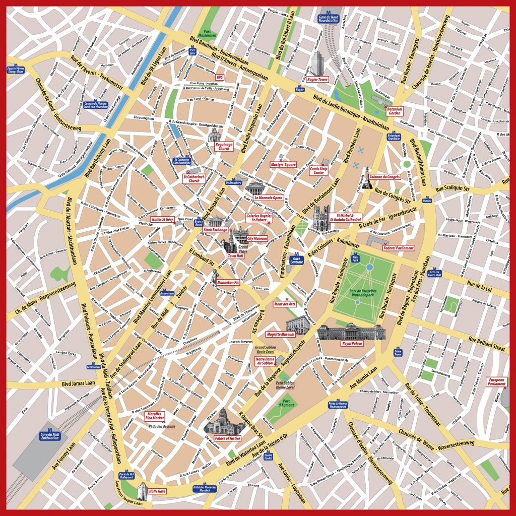 Brussels Map Print - Tourist Map Of Brussels Printable (Belgium) - Tourist Map Of Brussels Printable