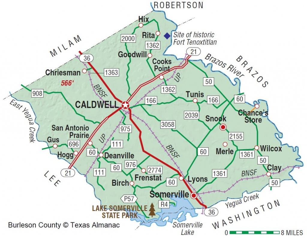 Burleson County | The Handbook Of Texas Online| Texas State - Caldwell Texas Map