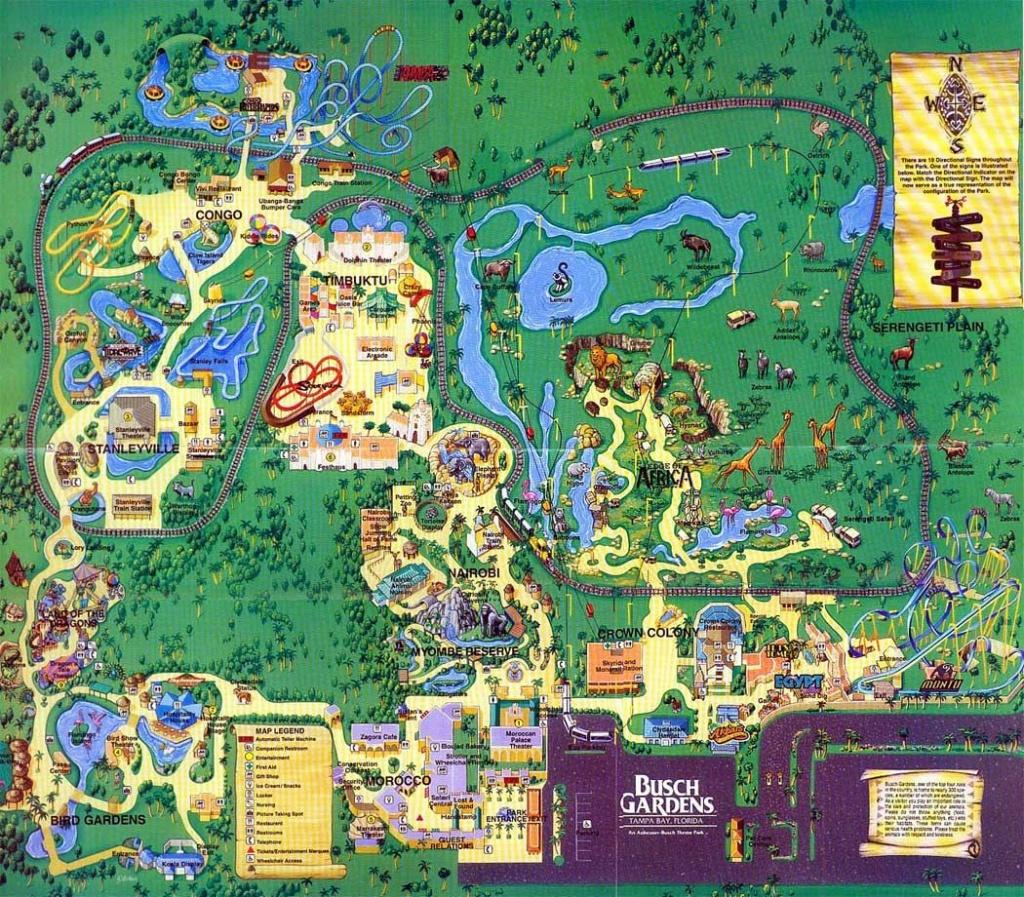 Busch Gardens Tampa - 1999 | Theme Park Maps | Busch Gardens - Florida Busch Gardens Map