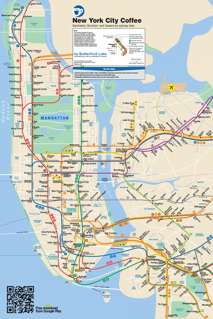 Butterfruit Labs Presents: The Best Coffee In Nycsubway - Nyc Subway Map Manhattan Only Printable