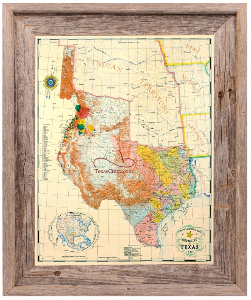 Buy Republic Of Texas Map 1845 Framed - Historical Maps And Flags - Republic Of Texas Map 1845