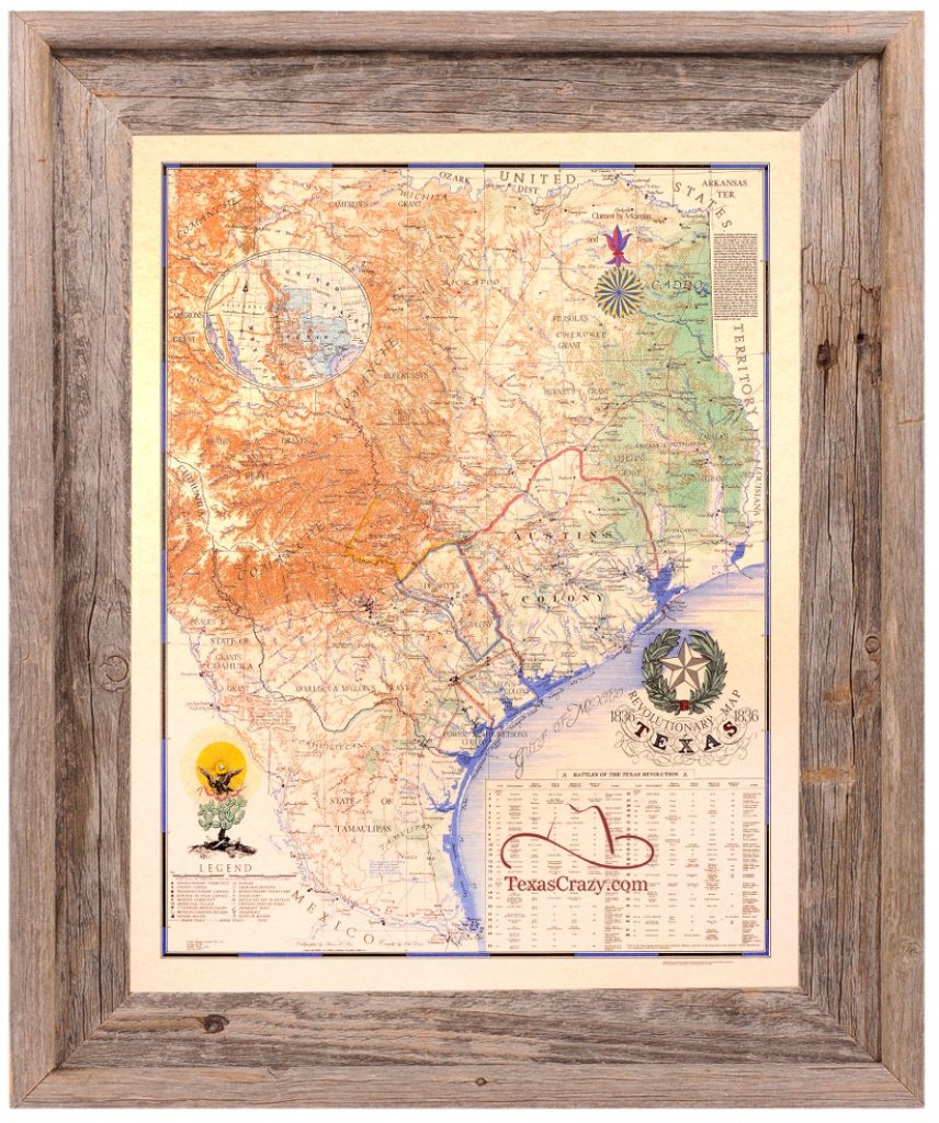 Buy Texas Revolution Map 1836 Large Framed - Republic Of Texas - Framed Texas Map