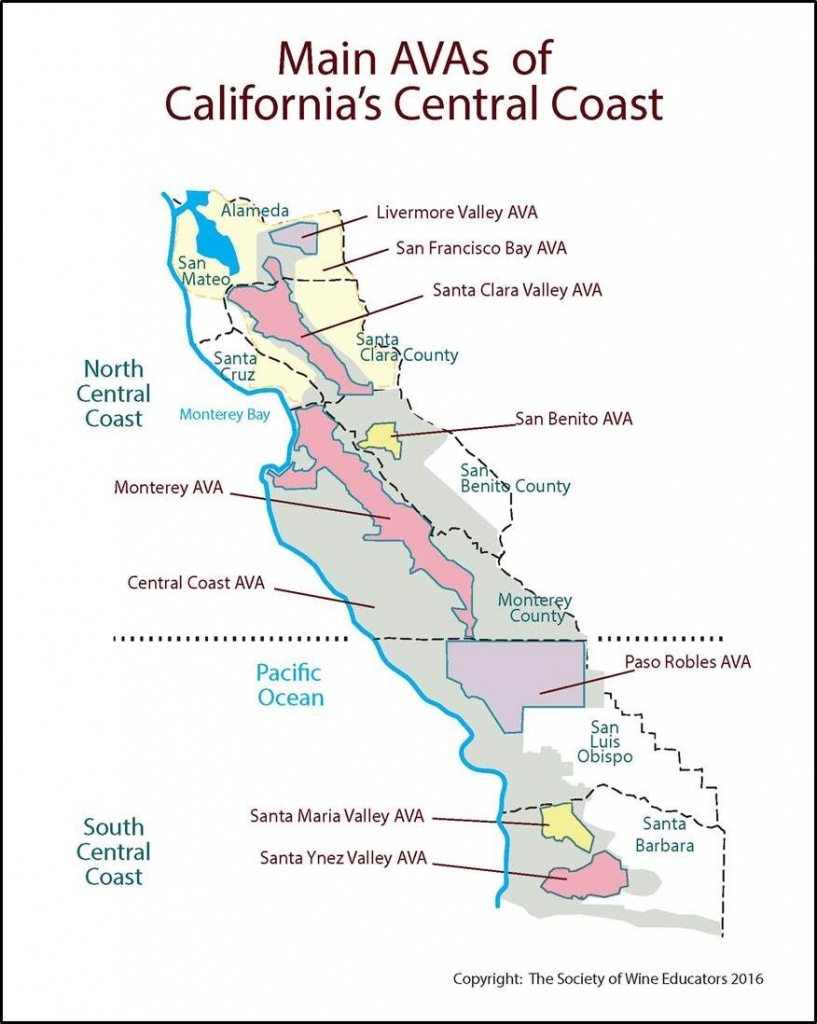 Ca Central Coast Swe Map 2016 | Wine Maps In 2019 | Wine, Map, Wines - Central California Wineries Map