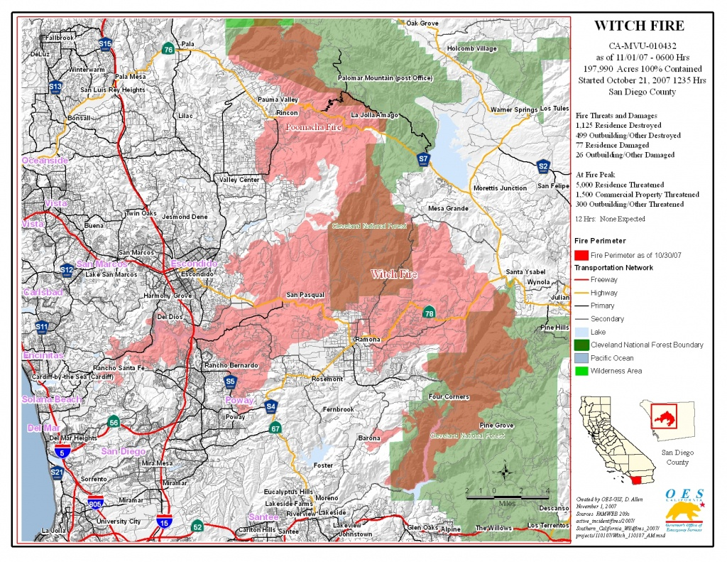 Ca Oes, Fire - Socal 2007 - San Diego California Fire Map