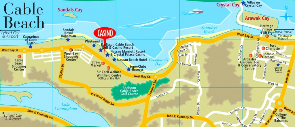 Cable Beach Map - Printable Map Of Nassau Bahamas