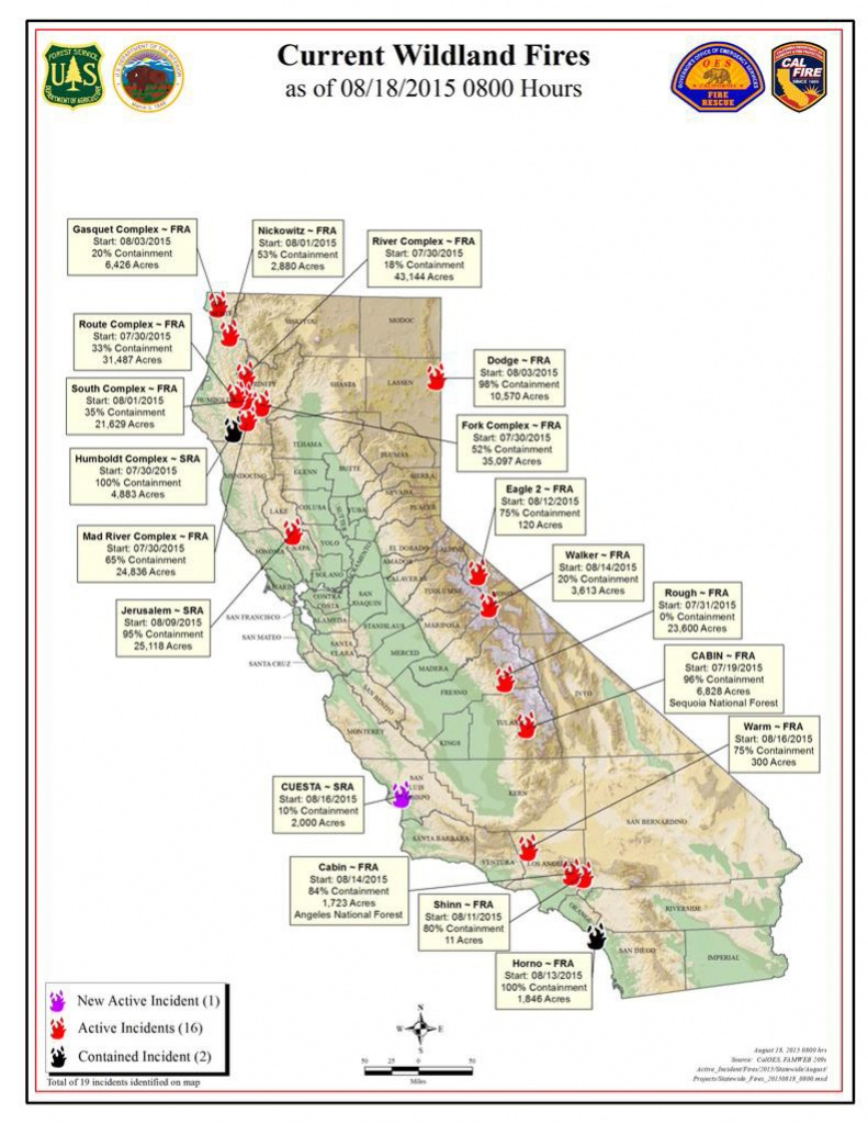 Cal Fire Tuesday Morning August 18, 2015 Report On Wildfires In - Active Fire Map For California