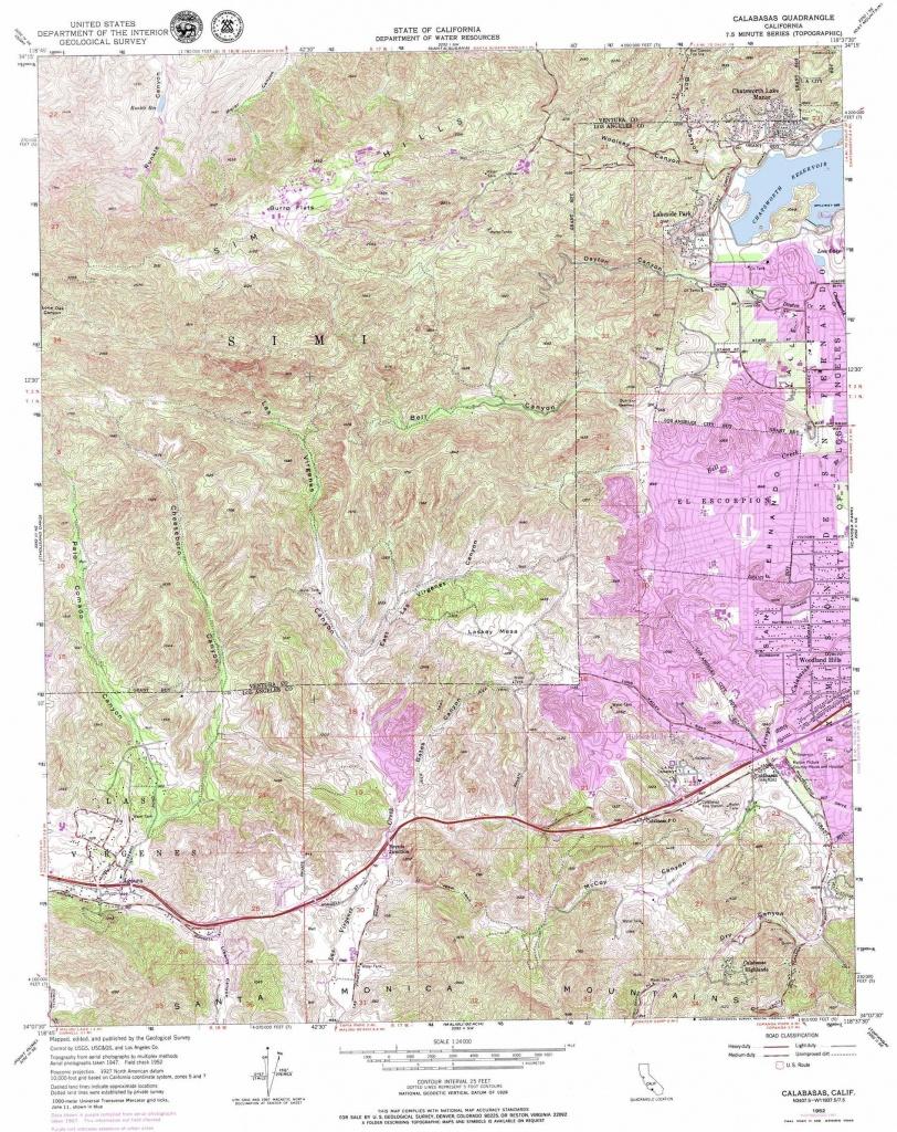 Calabasas Topographic Map, Ca - Usgs Topo Quad 34118B6 - Calabasas California Map