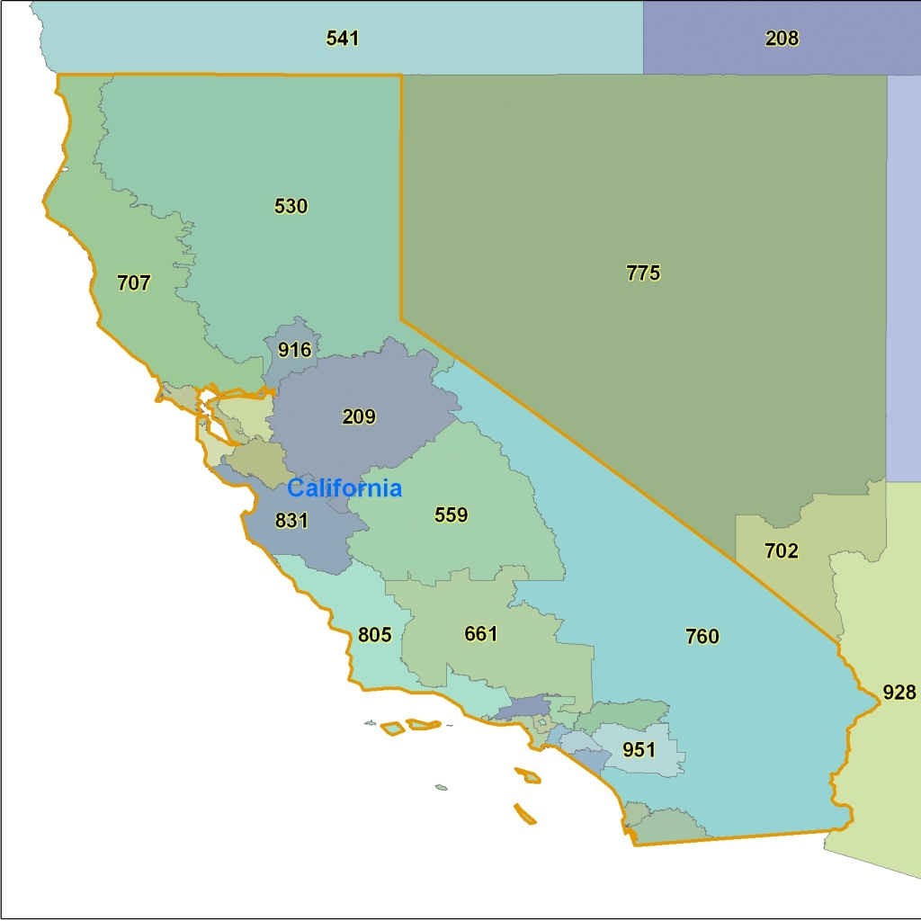 California Area Code Maps -California Telephone Area Code Maps- Free - California Zip Code Map Free