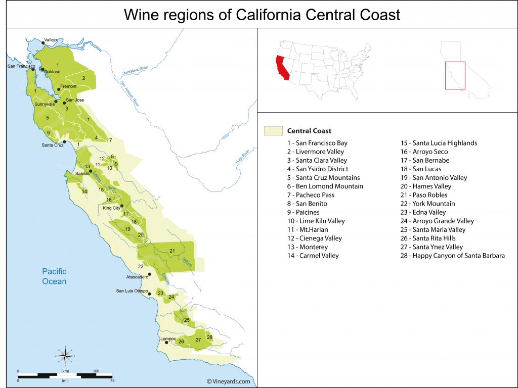 California Central Coast Map Of Vineyards Wine Regions - California Valley Map