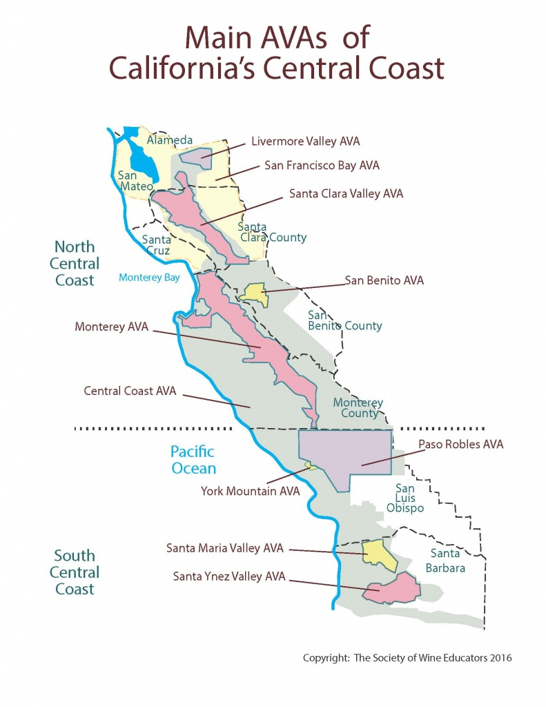 California—Central Coast: Swe Map 2018 – Wine, Wit, And Wisdom - Central California Wineries Map