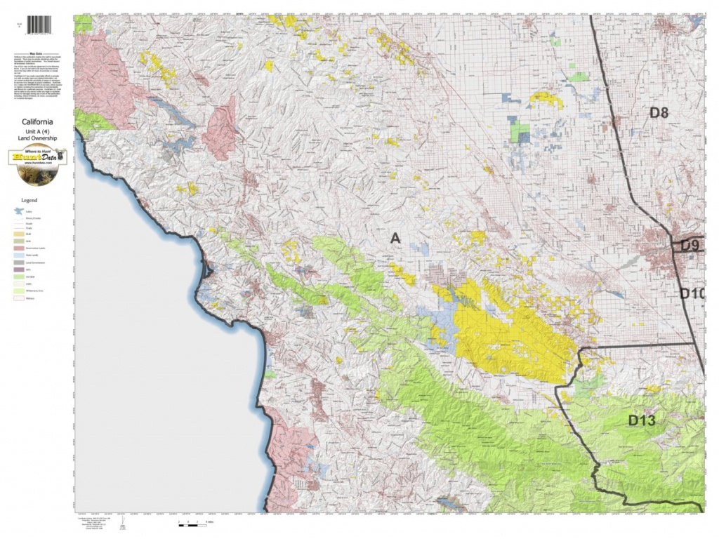 California Deer Hunting Zone A(4) Map - Huntdata Llc - Avenza Maps - California D8 Hunting Zone Map
