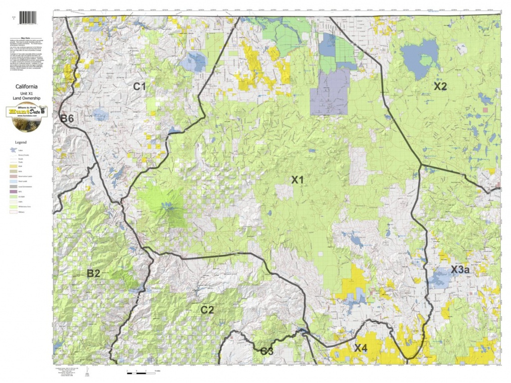 California Deer Hunting Zone X1 Map - Huntdata Llc - Avenza Maps - California Deer Zone Map