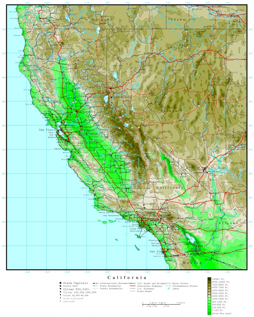 California Elevation Map - California Topographic Map Elevations