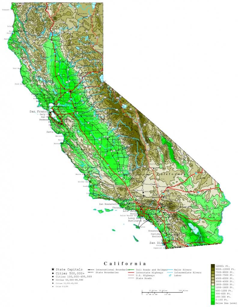 California Elevation Map - Topo Map Of California