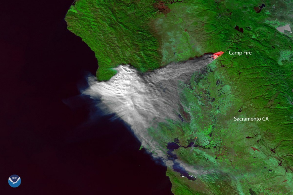 California Fire: Satellite Image Shows Camp Fire Smoke Over Bay Area - Map Of Northern California Campgrounds
