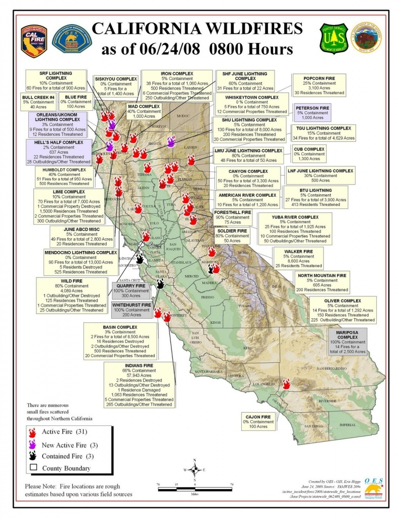 California Fires Map From Cal Fire & Oes   Firefighter Blog Inside - Where Are The Fires In California Right Now Map