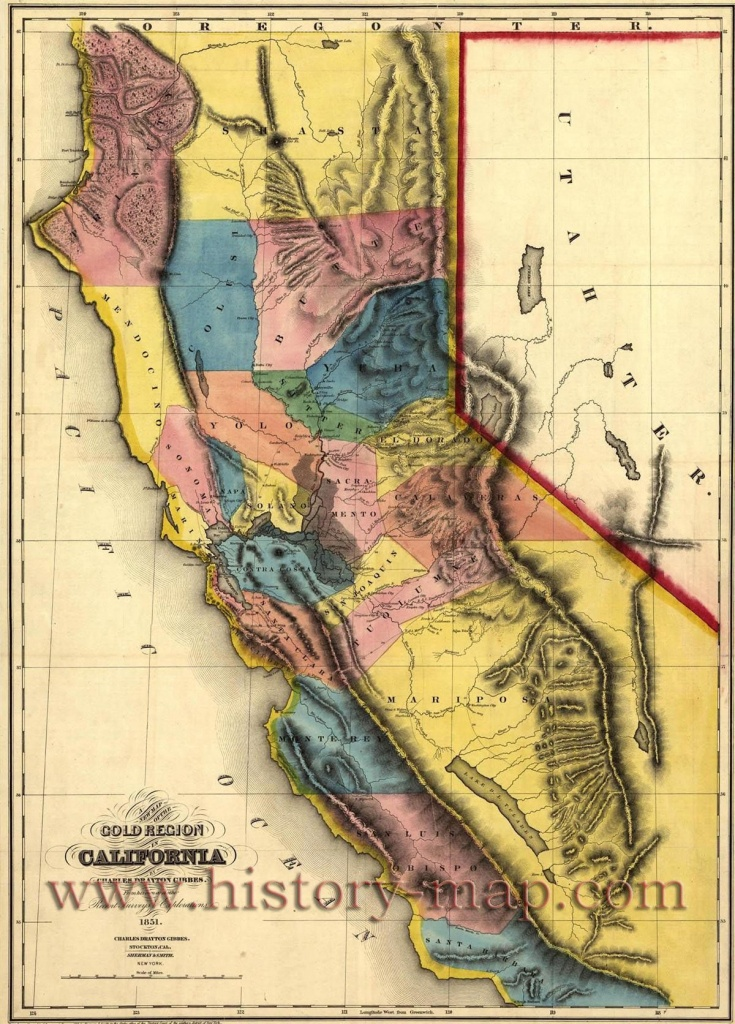 "California Gold Map ~ ""gold Mines And Mining. Gibbes' New Map Of - California Gold Claims Map"