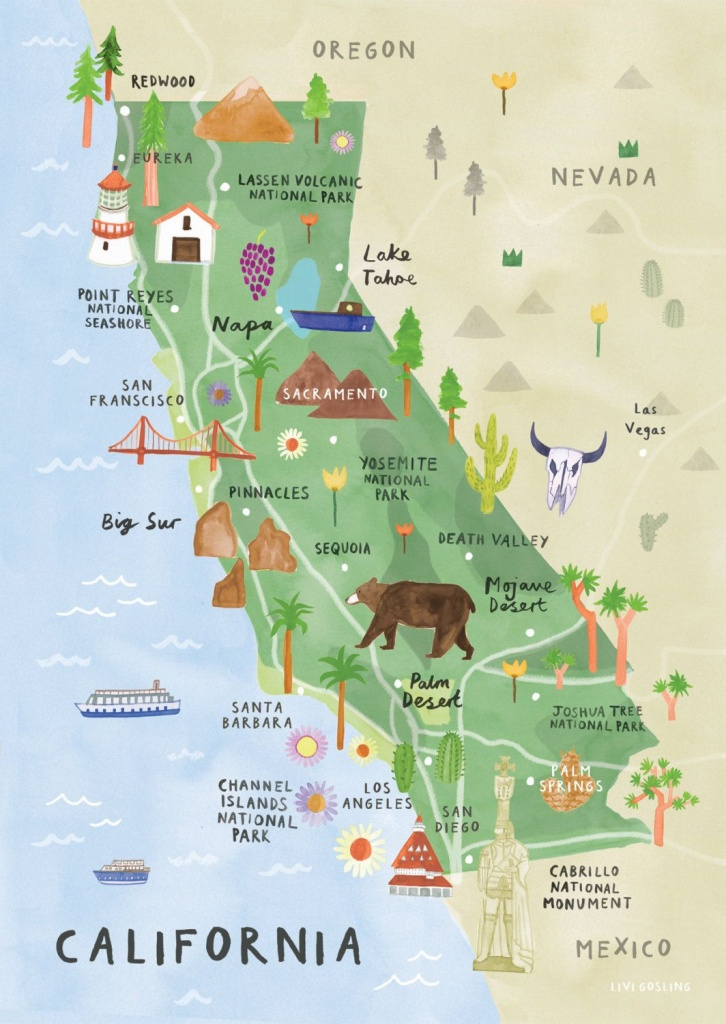 California Illustrated Map - California Print - California Map - California Travel Map