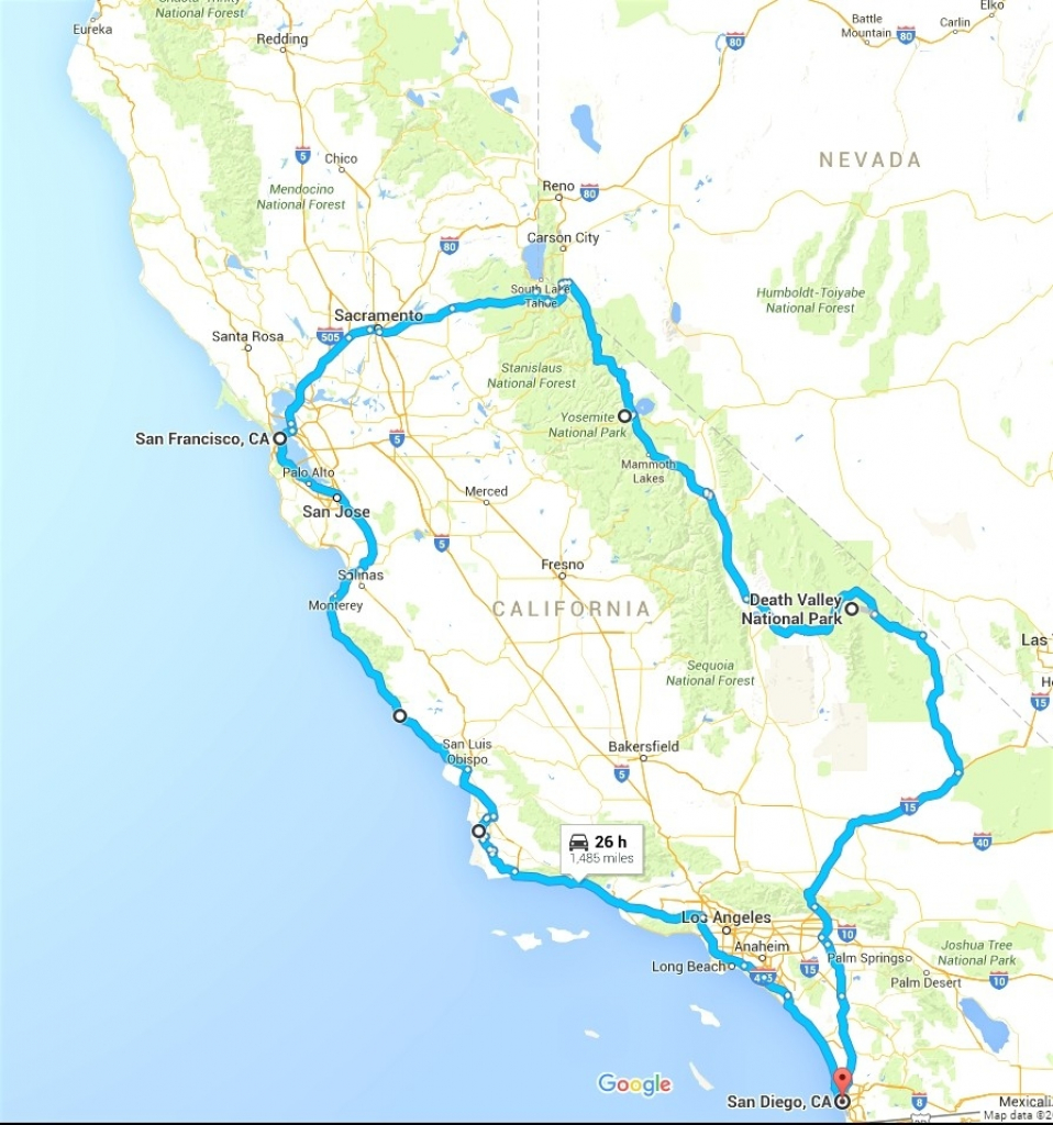 California Map For Road Trip – Map Of Usa District - California Trip Planner Map