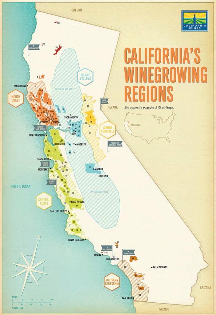 California Map For The Wine Institute Of California | Designer - California Map Book