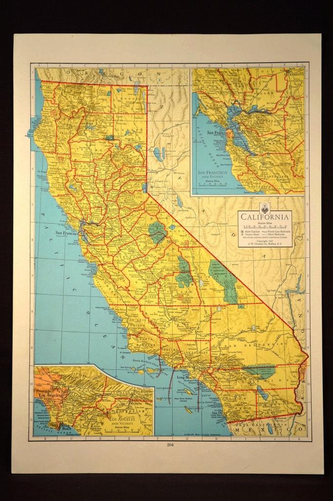California Map Of California Wall Art Decor Colorful Yellow Vintage - California Map Wall Art