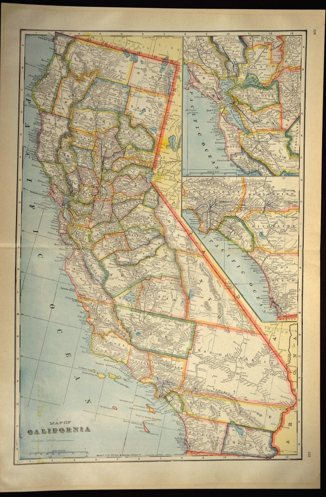 California Map Of California Wall Art Decor Large Antique Colorful - California Map Wall Art