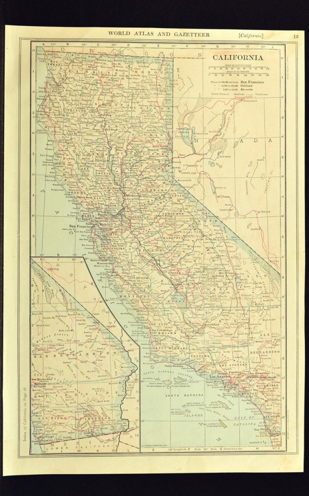 California Map Of California Wall Art Decor Railroad Antique | Etsy - California Map Wall Art