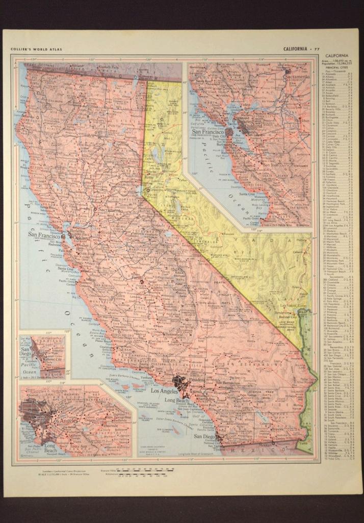 California Map Of California Wall Art Decor Vintage Old Pink 1950S - California Map Wall Art