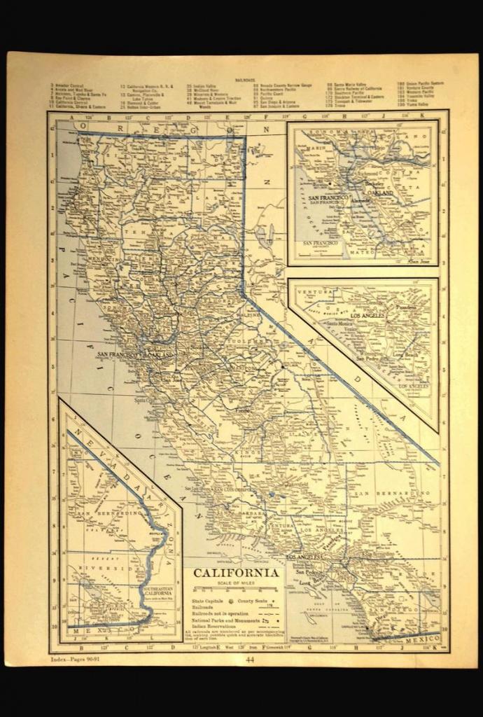 California Map Of California Wall Decor Art Los Angeles | Etsy - California Map Wall Art