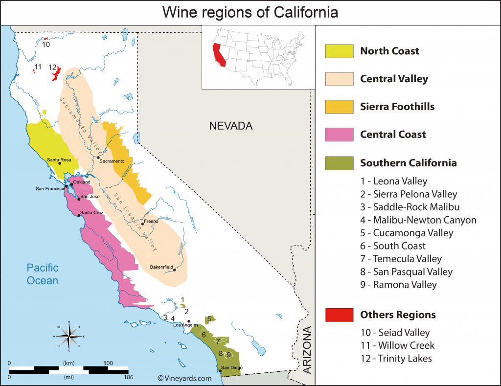 California Map Of Vineyards Wine Regions - California Wine Ava Map