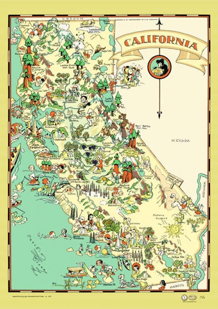 California Map Poster Vintage 1933 San Francisco Los Angeles | Etsy - California Map Poster