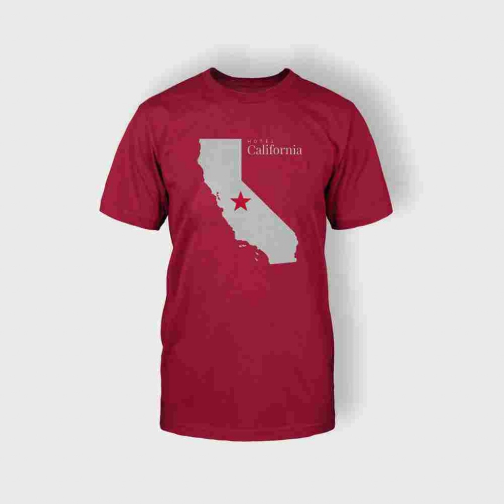 California Map T-Shirt (Red) - Majestic Suite - California Map Shirt
