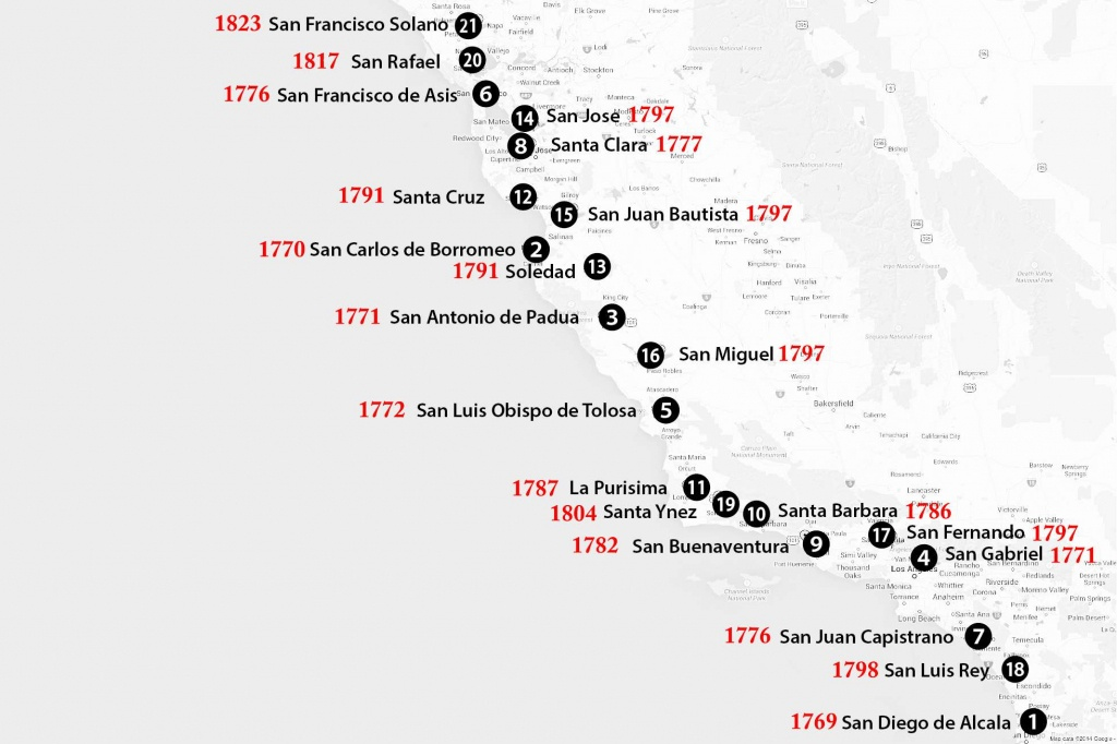 California Missions Map: Where To Find Them - California Missions Map For Kids
