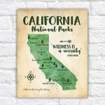 California National Parks Map Adventure Travel Mountains | Etsy   Map Of California Parks